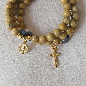 Rosary Bracelet of Serpentine and Sodalite and Gold Plated Medals