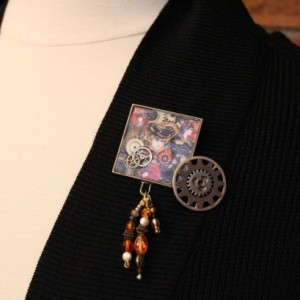 Victorian and steampunk inspired pin (2 piece set)