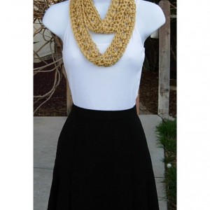 SUMMER SCARF Small Infinity Loop Solid Soft Gold Yellow, Crochet Knit Endless Circle Skinny Narrow Lightweight Cowl, Ready to Ship in 2 Days