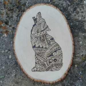 Howling Coyote Wood Burning- Tribal Pattern