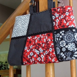 Red White and Black Floral Multifabric Handbag
