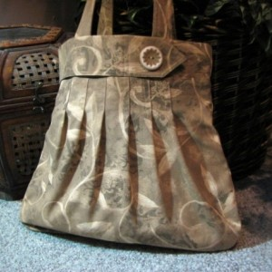 Mixed Taupe and and Tan Vine Pleated Hobo Style Handbag with Faux Belt