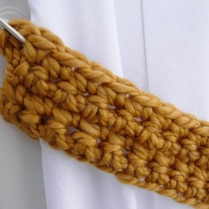 Gold Curtain Tie Backs, Solid Dark Yellow, One Pair of Tiebacks for Drapes, Handmade Crochet Knit, Simple, Basic, Thick, Ready to Ship in 3 Days
