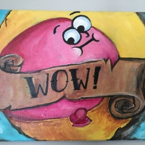 Wow! Scratch and sniff bubblegum sticker original acrylic painting on canvas-Free Shipping