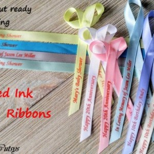 10 Personalized Ribbons with red ink 3/8 inches wide (unassembled)