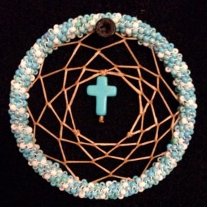 Blue and White Dream Catcher with Turquoise Cross
