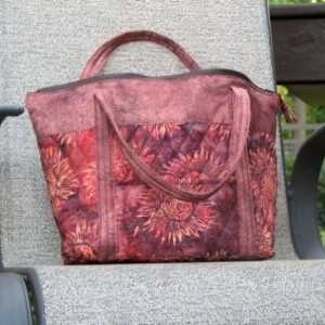 Coral, Rust, Pink Sunflower Quilted Bag with outer pockets