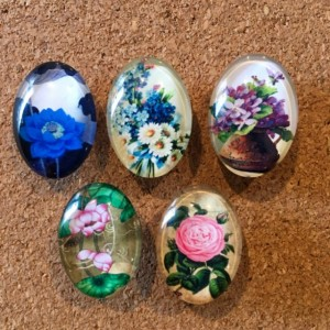 Oval Glass Flower Pushpins (Set of 5) 18mmx25mm, Stecknadeln, Durable Gold Pushpin Daisies, Roses, Lilacs