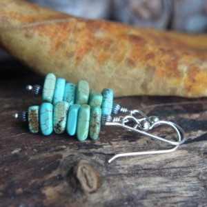 Rustic turquoise magnesite and sterling silver stack earrings - Mineral earrings - Southwest autumn - aqua, turquoise, pale green