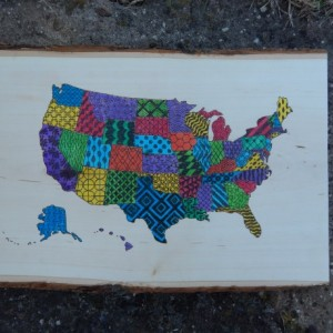 Wood Burned US Map- Patterned and Multicolored United States Map
