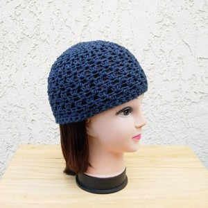 Dark Solid Navy Denim Blue Summer Beanie Hat, Soft 100% Cotton Lacy Skull Cap, Women's Men's Crochet Knit Chemo Cap, Ready to Ship in 3 Days