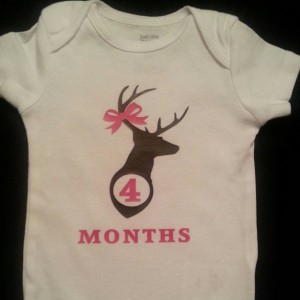 Monthly Onesies Girl or Boy Deer Country Baby Photo Prop. New Baby Gift. Baby Shower Gift