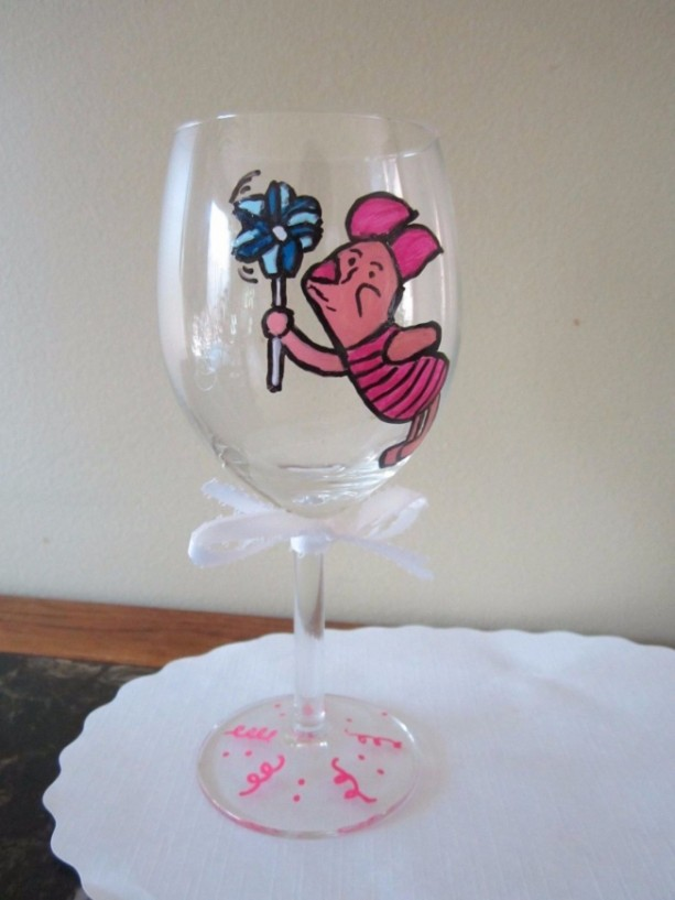 Hand Painted Wine Glass Piglet  Winnie the Pooh