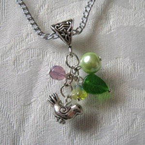 Silver Bird & Grean Mix Pendant Necklace