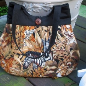 Leopards, Lions and Zebra Quilted Hobo Style tans and Browns Handbag