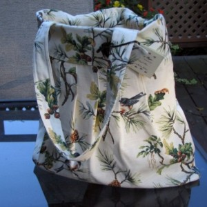 Pleated Hobo-Style Fabric Handbag with Classic Nature Scene
