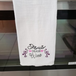 Tea towel set, Jesus Drank Wine Funny Decorative Dishtowel, tea towel, flour sack towel, funny towel