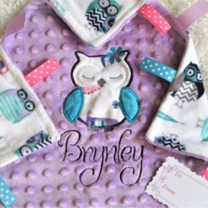 Ultra Soft Owl Minky Fleece Lovey, Free Personalization Included, Unique Baby/toddler Girl Gift, AKA lovie lovy security blanket woobie