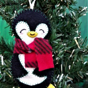 Christmas Tree Ornament, Felt Penguin Holiday Decoration