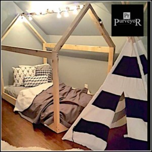 """Twin House Bed Frame (2x3"""" pieces) with slats and chimney"""