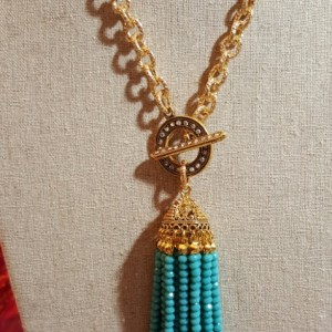 Turquoise Tassel in long chain
