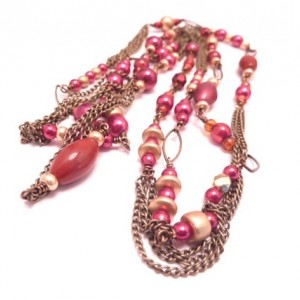 Holiday Cranberry Sunset Lariat Necklace