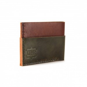 Leather Card and Cash Wallet in Brick and Olive