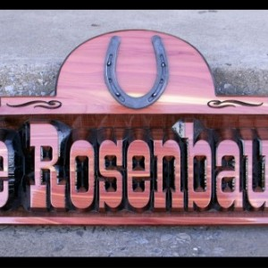 Country/Western style customized, personalized Cedar sign.