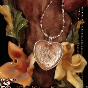 """Petals"" Real Hand-Dyed Rose Petal Heart Pendant with Swarovski Crystal Option"