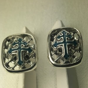 Cross of Lorraine sterling silver cufflinks
