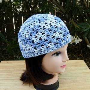 Denim Blue Summer Beanie, 100% Cotton Lacy Skull Cap, Women's Crochet Knit Light Blue Hat, Lightweight Chemo Cap, Ready to Ship in 3 Days