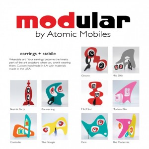 The Modernist Blue Earring Stabile Sculpture - MODular by Atomic Mobiles Mod Statement Earrings + Art Sculpture - Gift For Her - Earrings