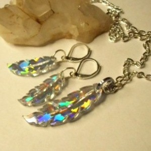 feather necklace, feather earrings,holographic,