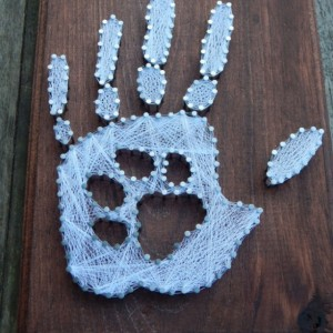 Hand print with paw print string art