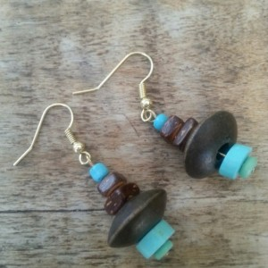 Wooden & Turquoise Bead Earrings.