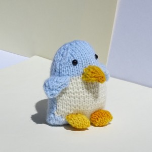 Penguin, Baby Toy, Stuffed Penguin, Baby Plushie, Hand Knitted Toy, Blue Toy, Stuffed Penguin