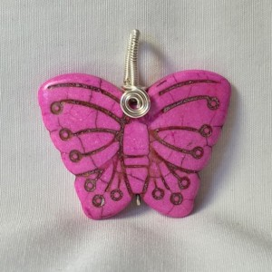 Carved Butterfly Pendant - Pink