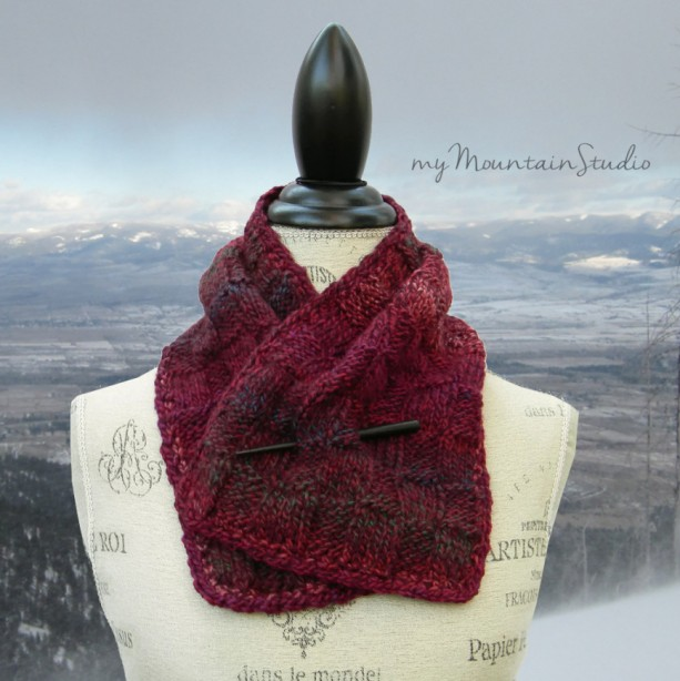 Marble Berries Hand Knit Neckwarmer Scarf for Women