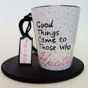 Good Things Come To Those Who Hustle Glitter Inspirational Hand Painted 14 oz Ceramic Coffee Latte Tea Cup Mug