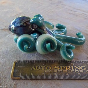 The Aqua Chameleon  Kracken Collectible Wearable  Boro Glass Octopus Necklace / Sculpture Made to Order