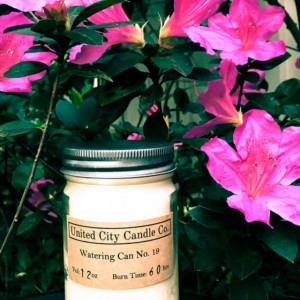 Watering Can No.19-Summer scents surround the pond; fresh water pours out her watering can.100% soy candle.United City Candle Co.Made in USA