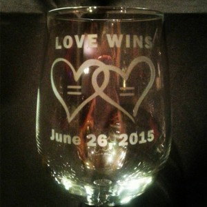 Love Wins Marriage Equality Wine Glass, Handmade Etched Glass