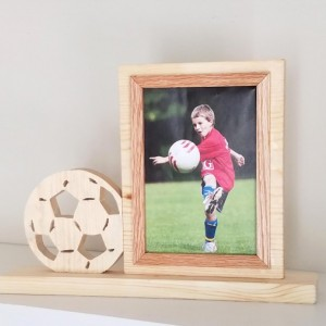Personalized 5 x 7 Picture Frame with Carved Soccer Ball, Customized Soccer Ball Photo Frame