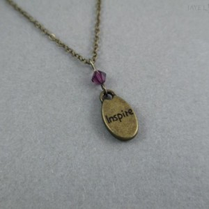 Bronze Inspire Charm Crystal Necklace With Your Choice of Color - Writer Gift