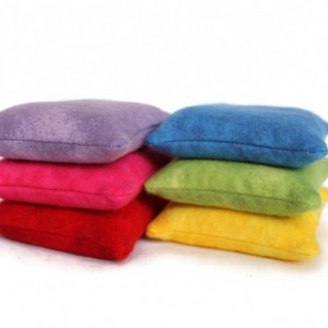 Flannel Rainbow Square Bean Bags (set of 6) Educational Kids Sensory Toy Bright Colors - US Shipping Included