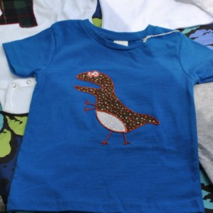 Blue T-Shirt with Hand-Embroidered T-Rex Applique
