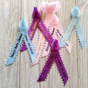 10 Mini Personalized Picot Ribbons for any event 3/8 inches wide(unassembled)