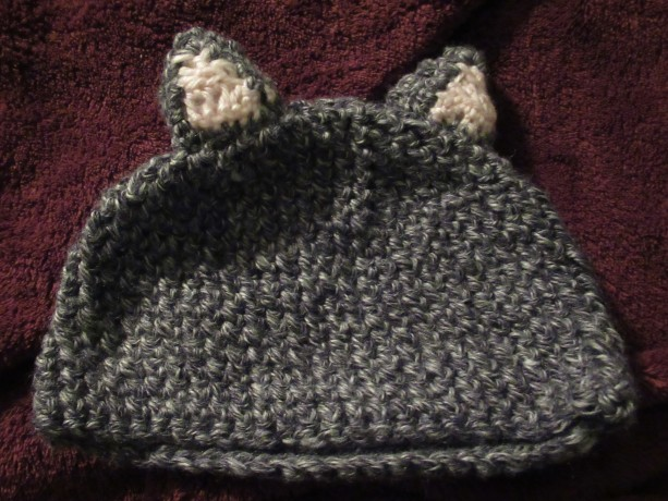 Grey Kitty Ear Hat for 3-6 Month baby