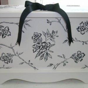 Floral Toile Wedding Keepsake Chest Anniversary Box personalized wedding gift