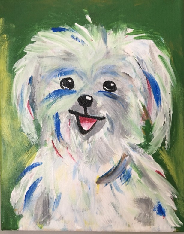 "Cutest Maltese ever! Original 8 x10""  painting on Stretched Canvas of dog. - Free Shipping"